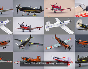 Pilatus PC-7 Mk-I With four livery 3D model