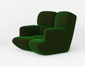Velvet chair 3D model VR / AR ready