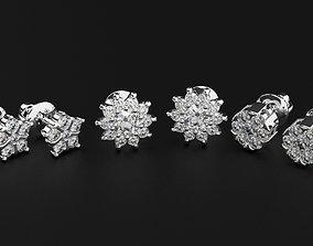Pak stylish diamond stud earrings 479 3D print model