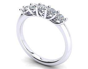 Multi stones ring 5 diamonds jewel 3D printable model 1