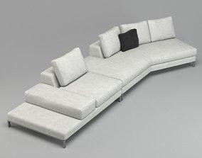 White Luxurious Class Sofa Lounge 3D model