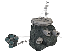 3D model low-poly Kono Station