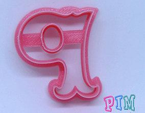 playdough Vintage letter P cookie cutter 3D print model