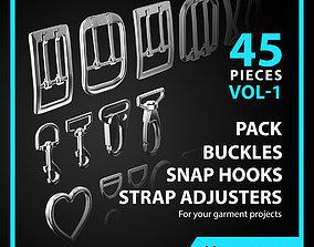 3D Buckles Snap Hooks Strap Adjusters Pack Vol 1