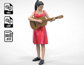 3D printable model N1 Woman Musician standing playing