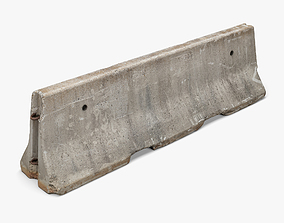 3D asset realtime Concrete Barrier 01 - 8K Scan