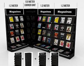 3D model modular magazine shelf for book shop
