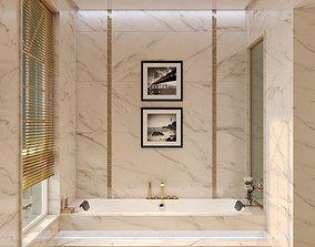 Two Modern Hotel Bathroom 3D model