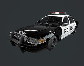 Vehicle Police Car Low Poly Game Ready UE4 File 3D asset