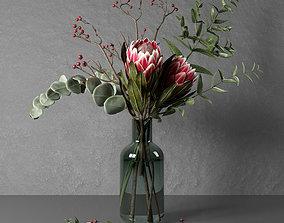 Bunch of flowers with protea and eucalypt 3D