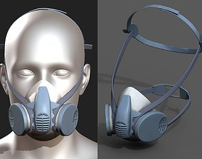 realtime Gas mask respirator military combat 3d model