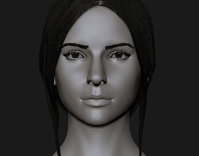 Realistic head cute brunettes girls 3D