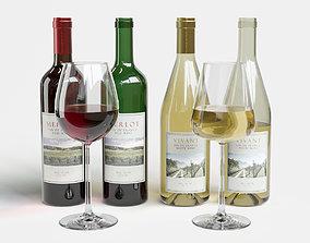 Wine Bottle and Glass Set 3D model