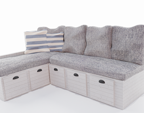 Beachy L-shaped Couch Model