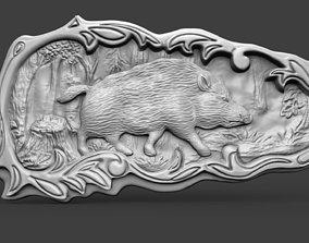3D printable model Boar bas refief