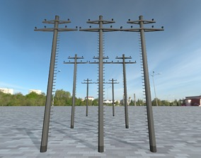 Concrete Electricity Pole with Ladder - Object 3D model