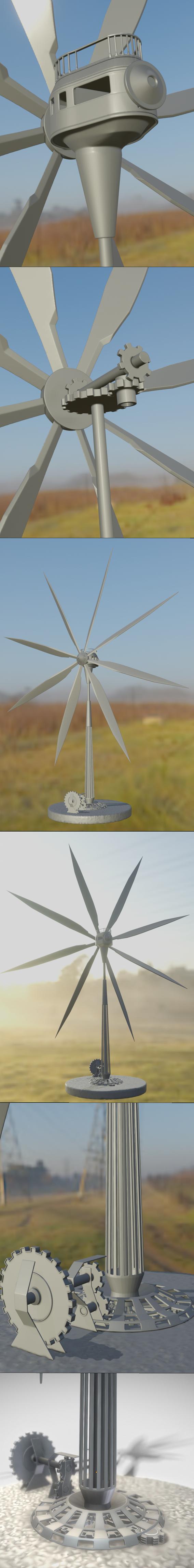 Steampunk Windturbine High-Poly Version