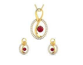 Women pendant-earrings set 3dm render detail jewelry