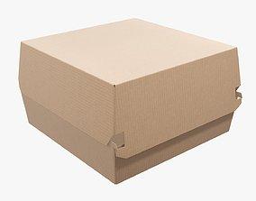Empty fast food corrugated cardboard box 3D model