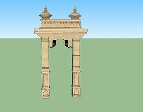 rigged game-ready indian jodhpuri stone arch 3d modal