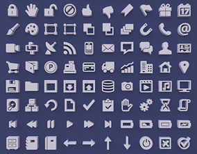 100 User Interface Icons 3D model
