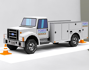 3D asset Low Poly VR Toonish Service Utility Truck
