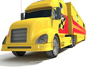 3D Yellow Race Car Transporter