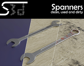 3D asset realtime Spanners Wrenches clean used dirty