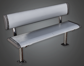 Outdoor Metal Bench - CLA - PBR Game Ready 3D model