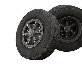 PBR vintage truck wheels 3D asset