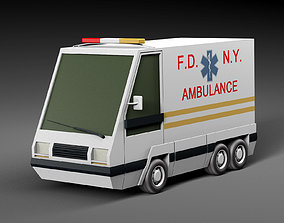 3D asset low-poly Cartoon car ambulance