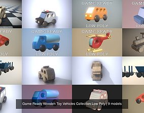 Game Ready Wooden Toy Vehicles Collection Low 3D model 1