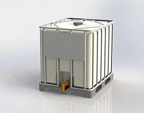 3D model 250 gallon IBC Liquid storage tote tank