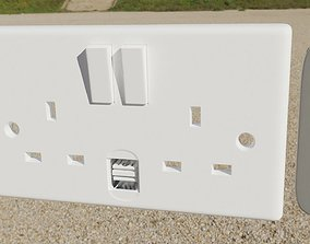 3D model house electrical sockets collection