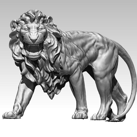 Waking Lion Statue