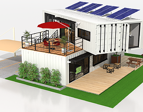 x4 40ft Container 2 Houses 3D model