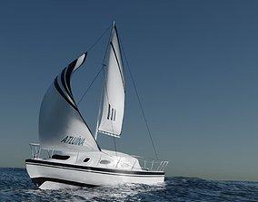 Sailboat Scene 3D model
