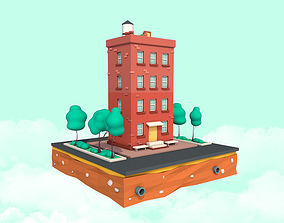 3D asset Cartoon Low Poly Brooklyn House Building