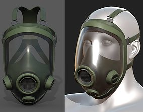 3D asset Gas mask protection isolated helmet