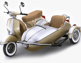 3D Generic retro scooter with sidecar
