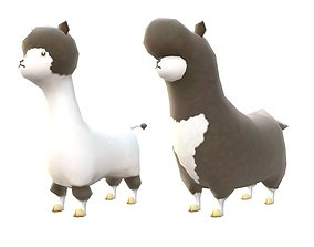 Lowpoly Animal Cartoon - Llama 3D asset