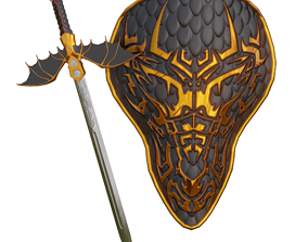 Shield and sword 3D model