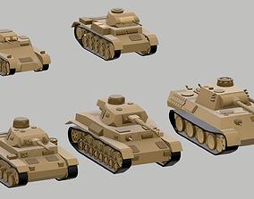 Set of low poly tanks 3D asset low-poly