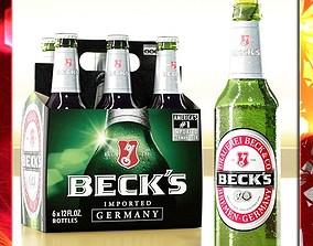 Becks Beer 6 Bottles Cardboard Pack 3D model