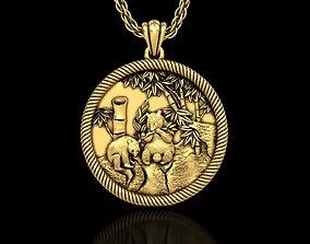3D printable model Two Pandas Medallion Pendant
