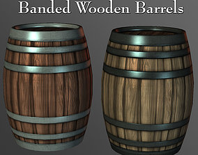 Banded Wooden Barrels 3D model