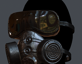 game-ready Gas mask helmet 3d model scifi 4