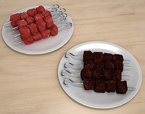 Raw and Grilled Meat Skewer 3D model