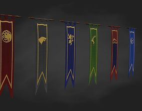 3D model Game of thrones banner 8 houses low poly and vfx