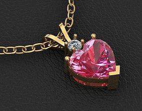 heart pendant 3D printable model gold